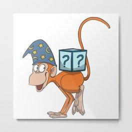 Magician monkey in yoga crane pose Metal Print