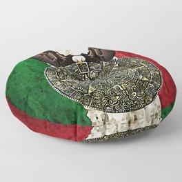 MEXICAN EAGLE AZTEC CALENDAR FLAG Floor Pillow