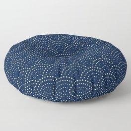 Japanese Blue Wave Seigaiha Indigo Super Moon Pattern Floor Pillow