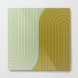 Two Tone Line Curvature XX - Moss Green Metal Print