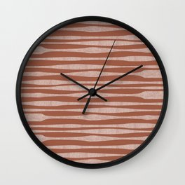 Riverbed Stripes Textured Stripe Pattern in Baked Clay Wall Clock