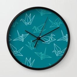 Paper cranes origami blue Wall Clock