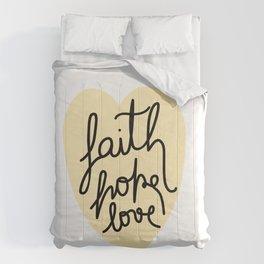 Faith, Hope, Love - Yellow Heart Comforters