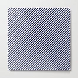 Mini Navy Blue and White Candy Cane Stripe Metal Print