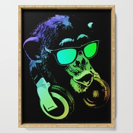 DJ Monkey In Neon Lights Serving Tray
