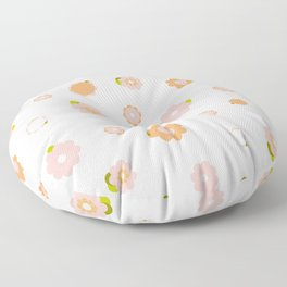Sweet pink and orange flowers over beige Floor Pillow