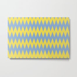 Zigzag Line Pattern Color of the Year 2021 Illuminating 13-0647 Yellow and Placid Blue 15-3920 Metal Print