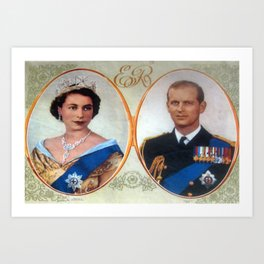 Queen Elizabeth 11 & Prince Philip in 1952 Art Print
