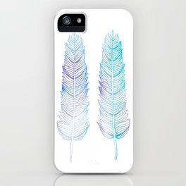 Hand-drown blue feathers iPhone Case