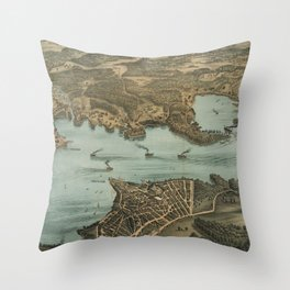 Vintage Pictorial Map of Lake Chautauqua NY (1885) Throw Pillow