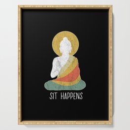Funny buddha buddhism meditation peace dharma zen Serving Tray