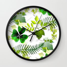 Four-Leaf Clover in Greneery Foliage Pattern Wall Clock