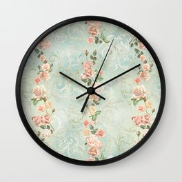 seamless, pattern, with delicate roses and monograms, shabby chic, retro. Wall Clock