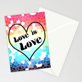 Love is Love Mosaic Pride Flag Design Stationery Cards