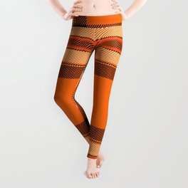 Argyle Fabric Plaid Pattern Autumn Orange & Black Colors Leggings
