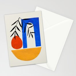 'Mykonos Sunset' Minimalist Mid Century Modern Colorful Paper Collage by Ejaaz Haniff Stationery Cards