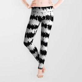 Black and White Stripes NYC Skyline Leggings