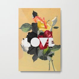 vintage Love and Flowers - cosy Retro kitsch design Metal Print