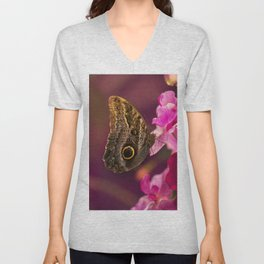 Blue Morpho butterly on pink flowers Unisex V-Neck