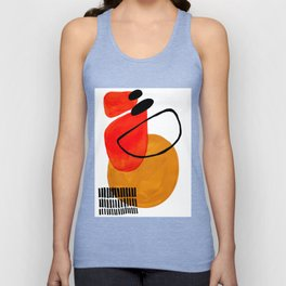 Mid Century Modern Abstract Vintage Pop Art Space Age Pattern Orange Yellow Black Orbit Accent Unisex Tanktop