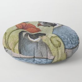 The quail and the poppy watercolor Floor Pillow