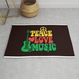Reggae Peace Love and Music Rug