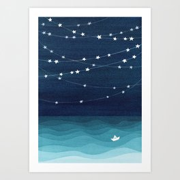 Garlands of stars, watercolor teal ocean Kunstdrucke
