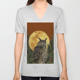 BROWN WILDERNESS OWL WITH FULL MOON & TREES Unisex V-Neck