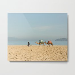 Camels in the Beach in Tangier Morocco Metal Print