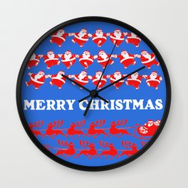 Vintage Santa Claus Dancing Christmas Pattern blue Wall Clock