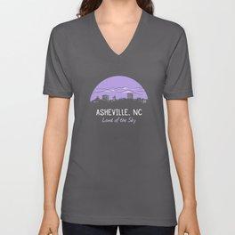 Asheville Cityscape - Land of the Sky - AVL 7 Purple Unisex V-Neck