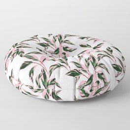 Pink and Green Indoor Plant Print Patterns Floor Pillow