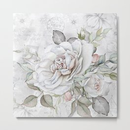 Faded Vintage Rose Metal Print
