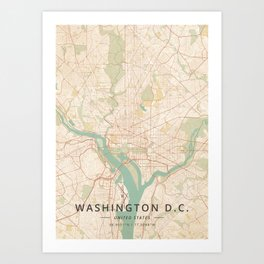 Washington D.C., United States - Vintage Map Art Print