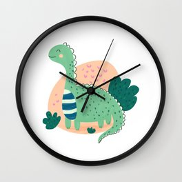Green Dinosaur Wall Clock