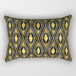 Gold 'Diamonds' Sophisticated Elegant Art Deco Pattern Rectangular Pillow