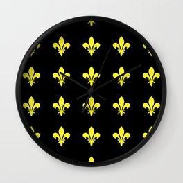 Fleur de lys 4-lis,lily,monarchy,king,queen,monarquia. Wall Clock