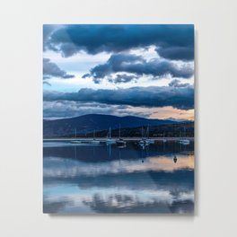Sailboat Dusk // Moody Calm Blue Waters on the Lake Before the Night Metal Print