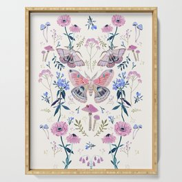 Lilac Butterfly and Flowers Serving Tray
