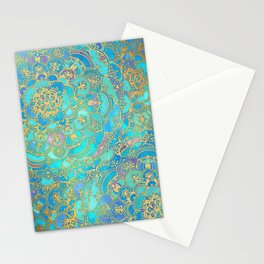 Sapphire & Jade Stained Glass Mandalas Stationery Cards