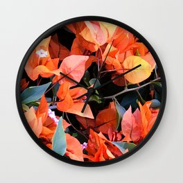 Vibrant Tangerine And Cantaloupe-Colored Flowers Wall Clock