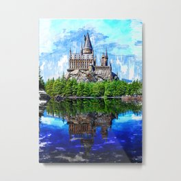 Castle By The Lake Sketch. For Vintage Castle Lovers. Metal Print