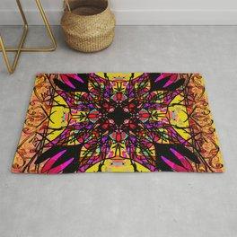 Ornate Mustard and Pink Mandala Magic Carpet Rug