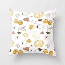 Dim Sum Pattern on White Background Throw Pillow
