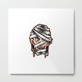 Mummy Head Cartoon Vector Character Metal Print