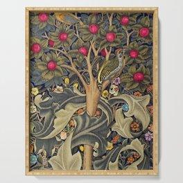 William Morris Woodpecker, Fruit Tree & Poppy Flower Garden Tapestry Textile Floral Print Serving Tray