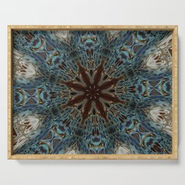 Fluid Nature - Chocolate Teal Mandala Style Design Serving Tray