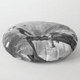 Tough Par Four - Golf Game at 1000 feet black and white photograph Floor Pillow