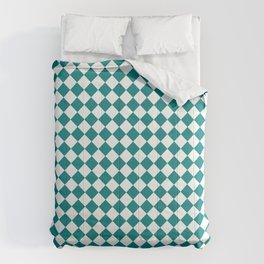 Small Diamonds - White and Dark Cyan Comforters