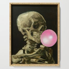 Van Gogh Bubble Gum Head of a skeleton with a burning cigarette portrait painting Serving Tray